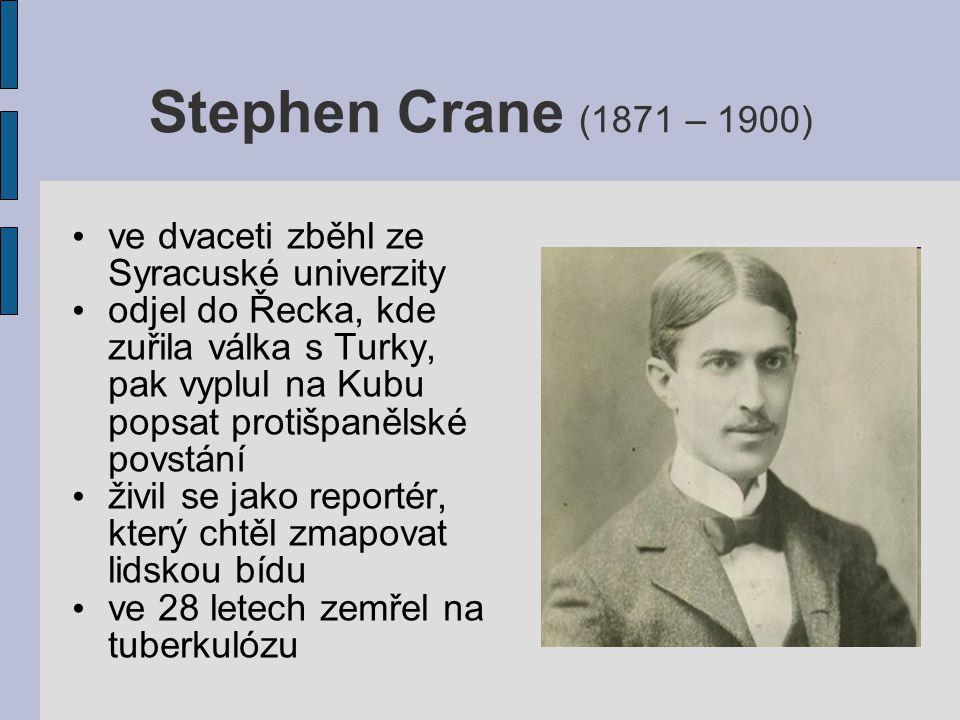 Stephen Crane (1871 – 1900) ve dvaceti zběhl ze Syracuské univerzity