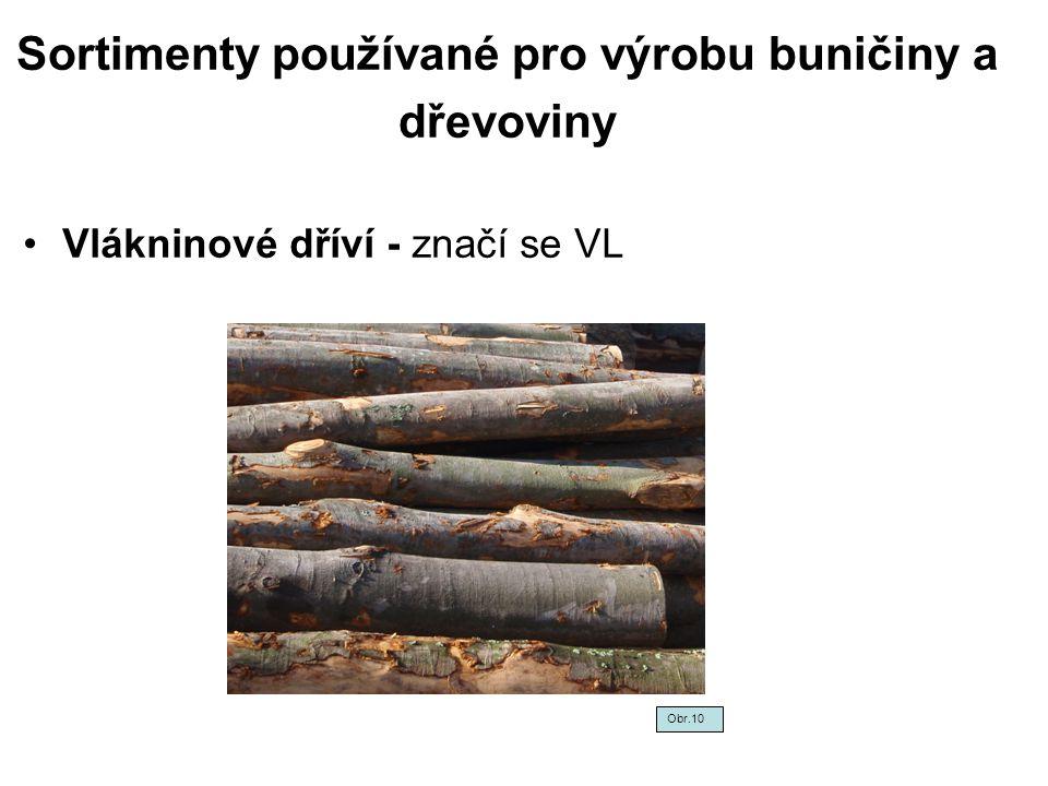 Sortimenty používané pro výrobu buničiny a dřevoviny
