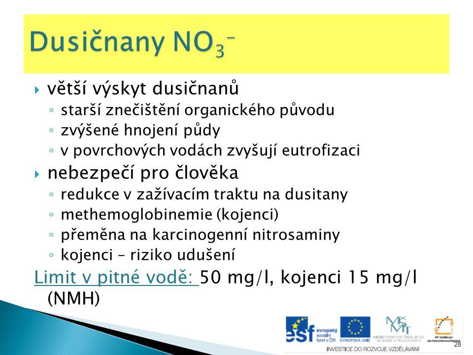 Dusičnany NO3- větší výskyt dusičnanů nebezpečí pro člověka