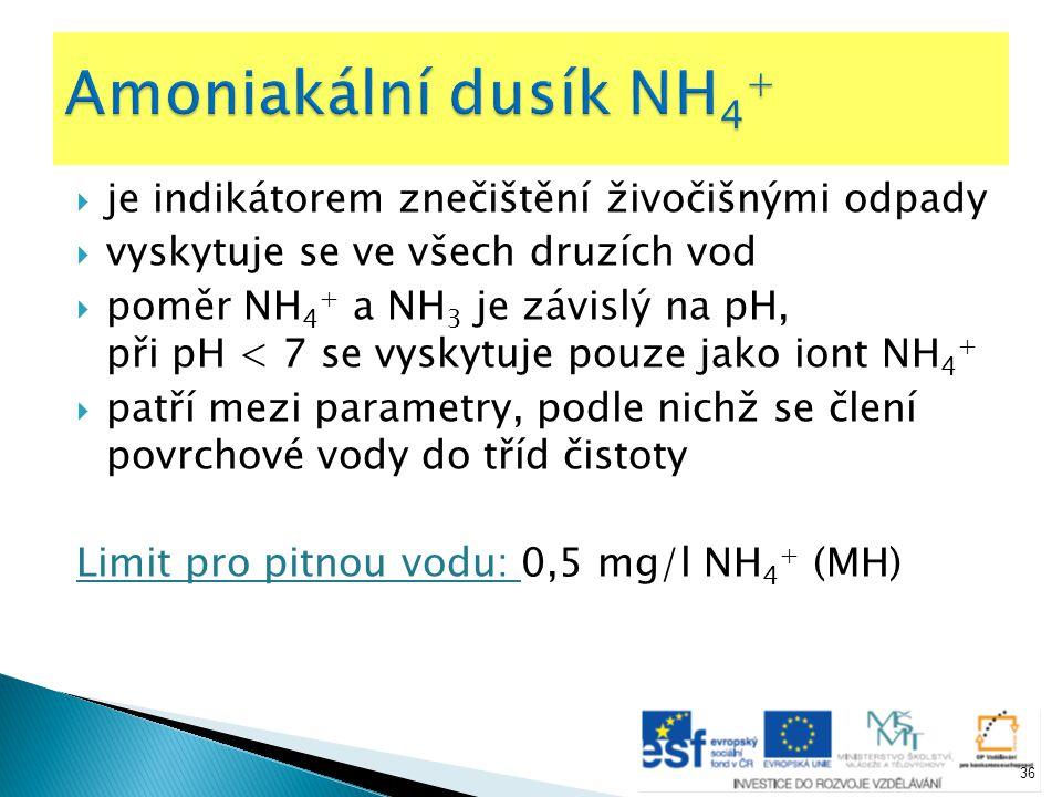 Amoniakální dusík NH4+ je indikátorem znečištění živočišnými odpady