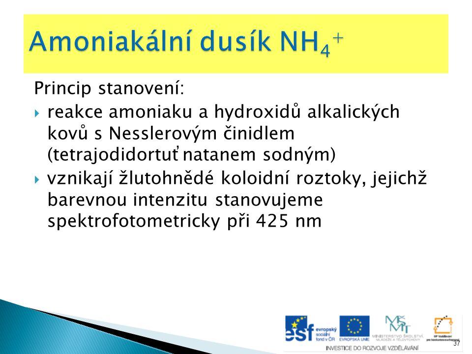 Amoniakální dusík NH4+ Princip stanovení:
