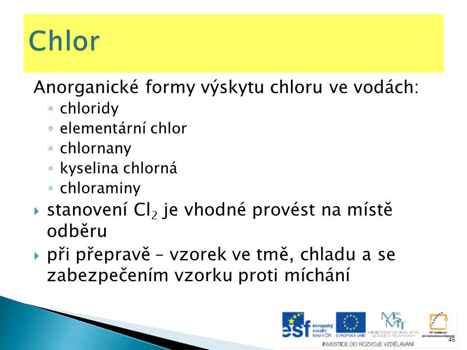Chlor Anorganické formy výskytu chloru ve vodách: