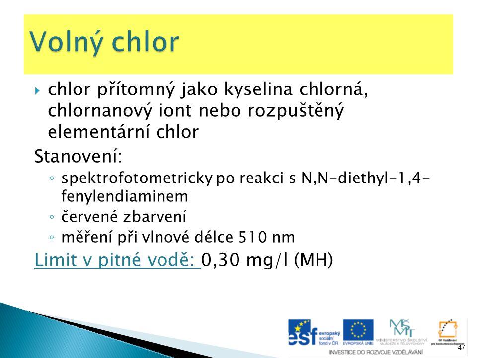 Volný chlor chlor přítomný jako kyselina chlorná, chlornanový iont nebo rozpuštěný elementární chlor.