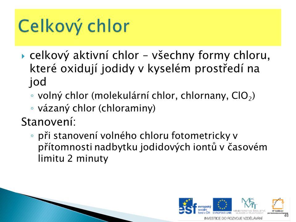Celkový chlor celkový aktivní chlor – všechny formy chloru, které oxidují jodidy v kyselém prostředí na jod.