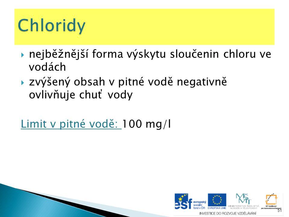 Chloridy nejběžnější forma výskytu sloučenin chloru ve vodách
