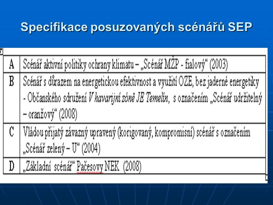 Specifikace posuzovaných scénářů SEP
