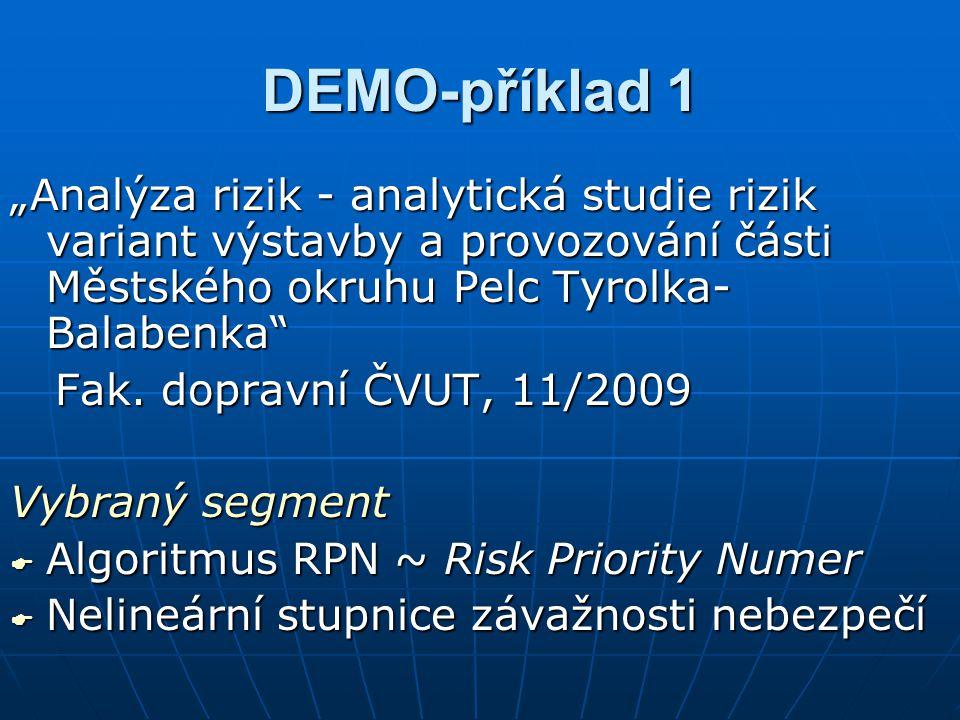"""DEMO-příklad 1 """"Analýza rizik - analytická studie rizik variant výstavby a provozování části Městského okruhu Pelc Tyrolka-Balabenka"""
