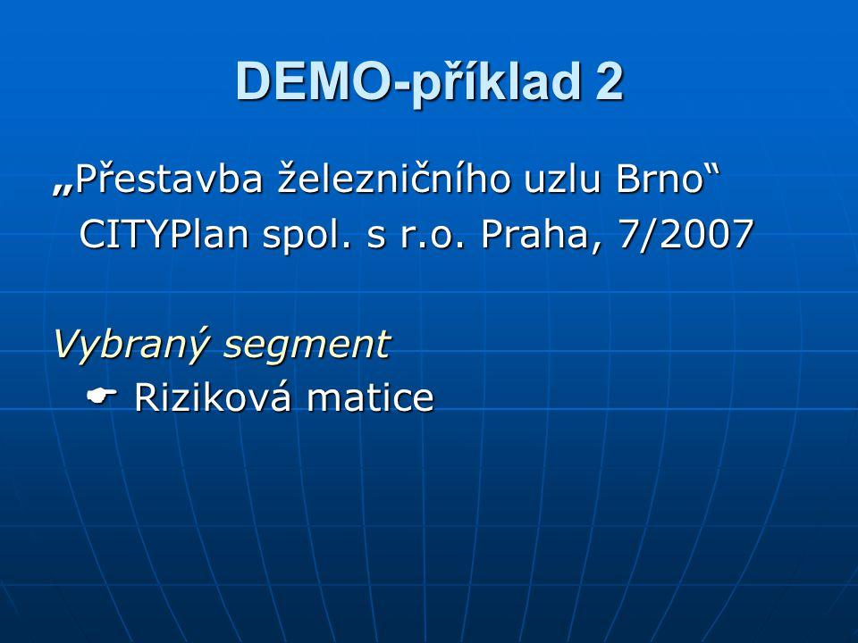 """DEMO-příklad 2 """"Přestavba železničního uzlu Brno"""