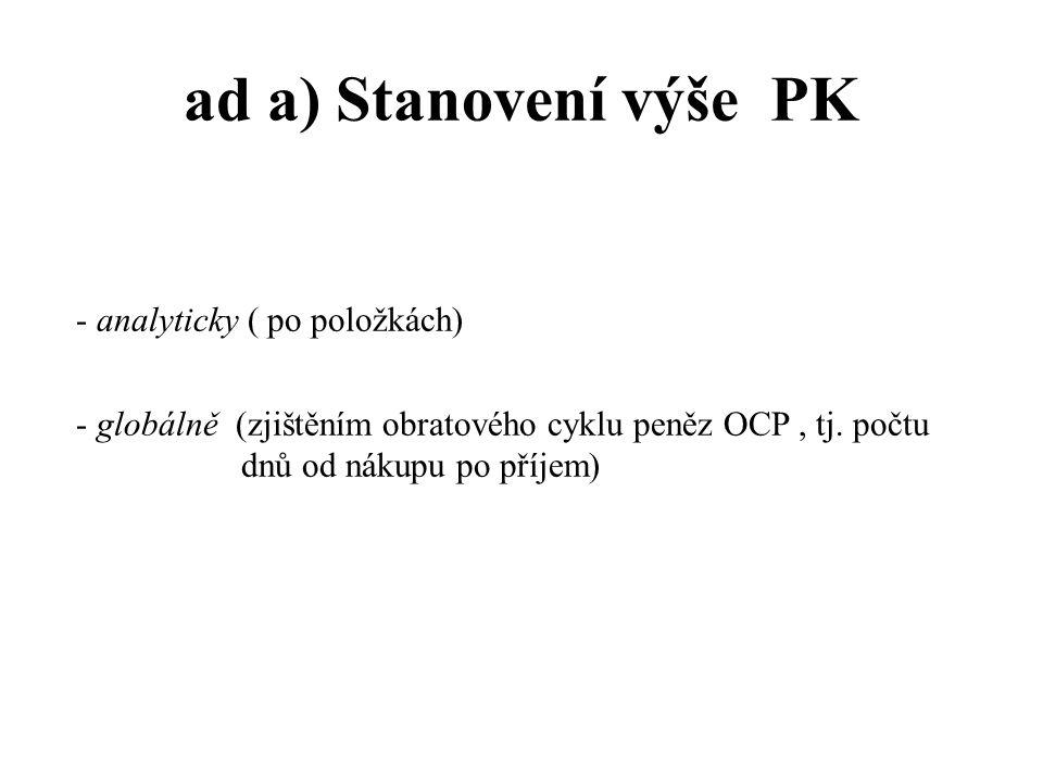 ad a) Stanovení výše PK - analyticky ( po položkách)
