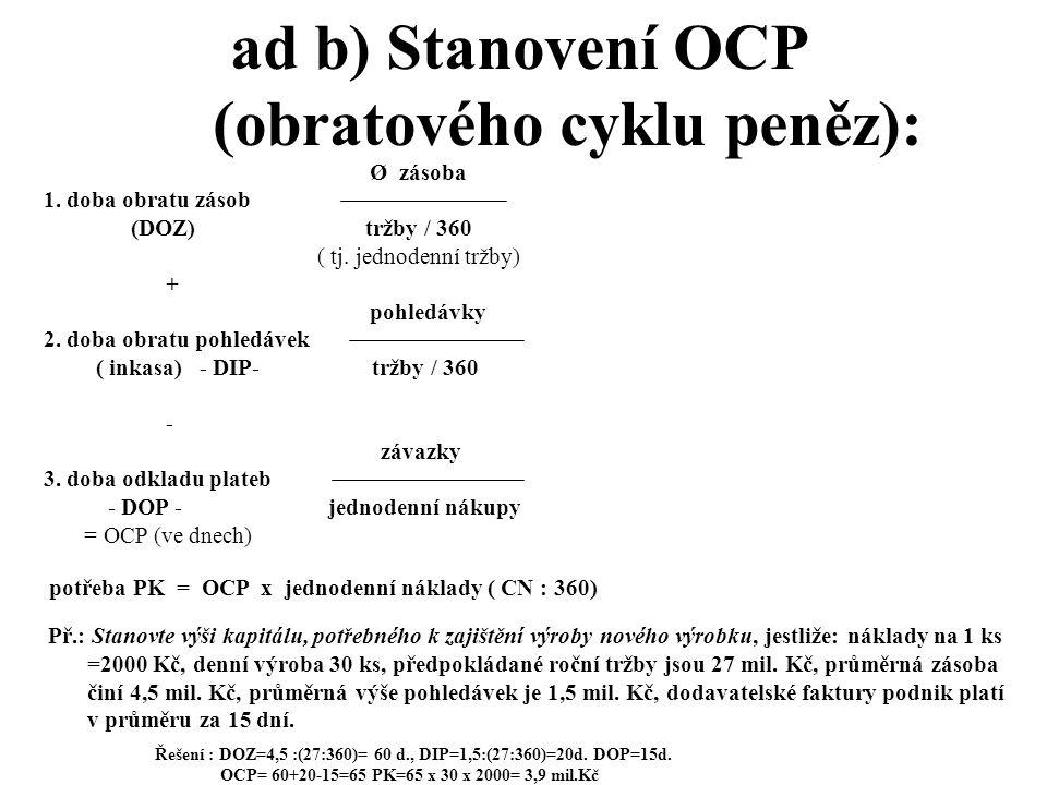 ad b) Stanovení OCP (obratového cyklu peněz):