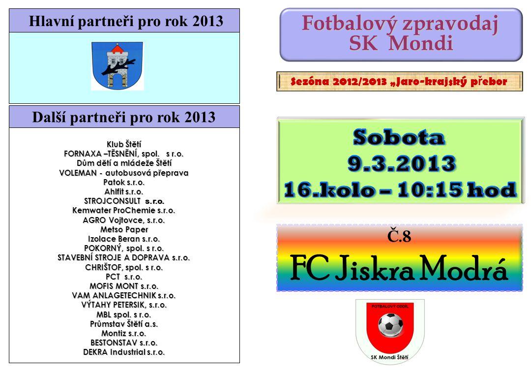 FC Jiskra Modrá Sobota 9.3.2013 SK Mondi 16.kolo – 10:15 hod