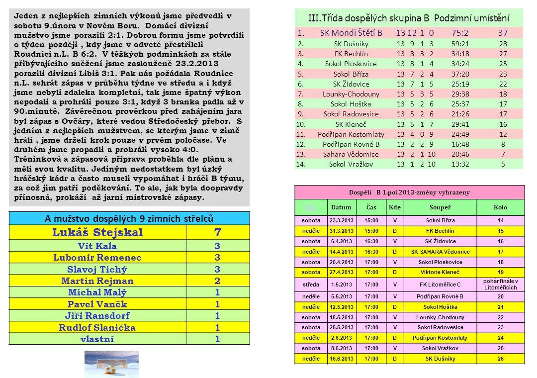 Lukáš Stejskal 7 A mužstvo dospělých 9 zimních střelců
