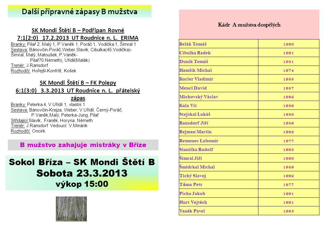 Sobota 23.3.2013 Sokol Bříza – SK Mondi Štětí B
