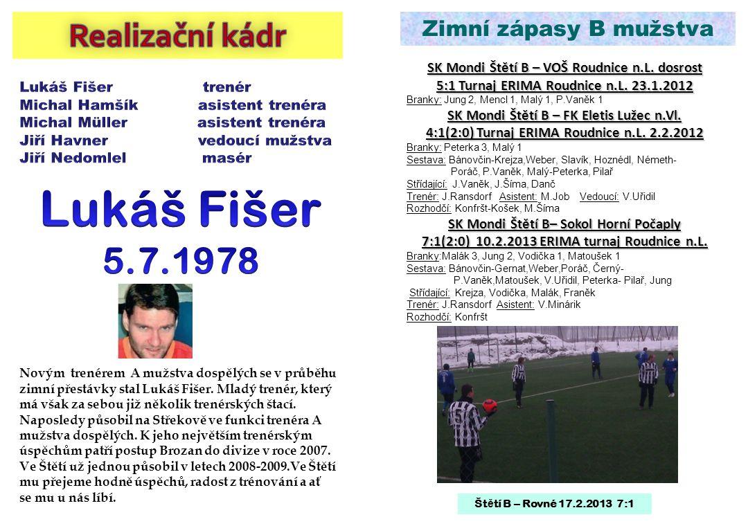 Lukáš Fišer 5.7.1978 Realizační kádr Zimní zápasy B mužstva
