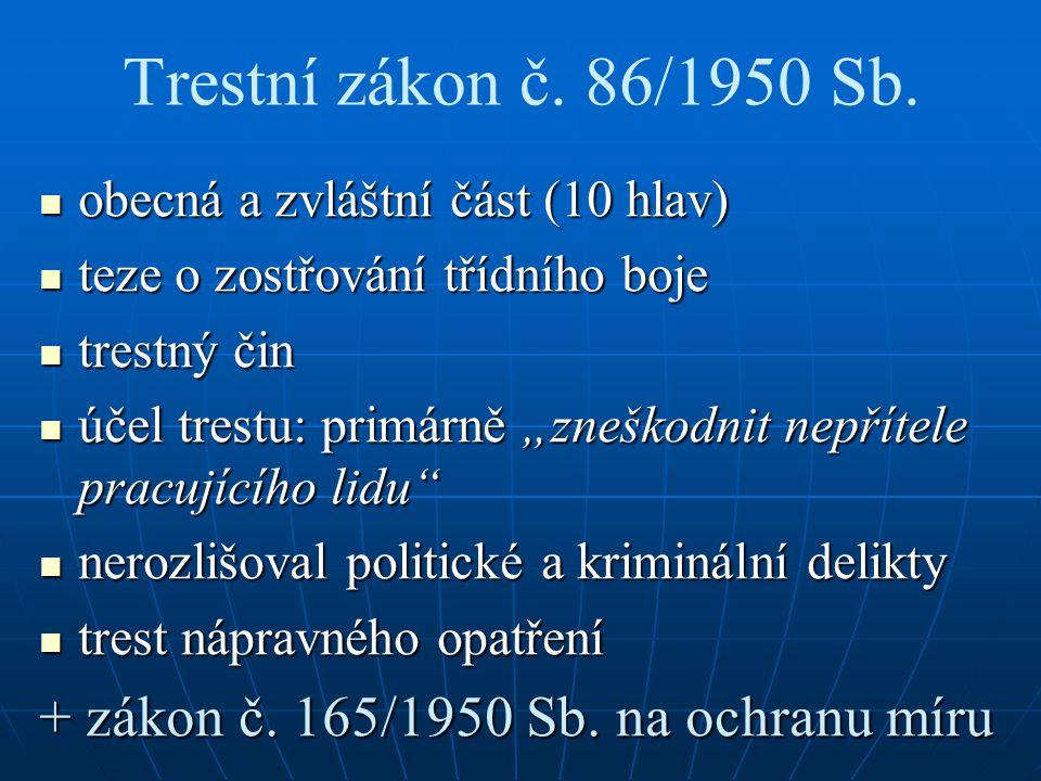 Trestní zákon č. 86/1950 Sb. + zákon č. 165/1950 Sb. na ochranu míru