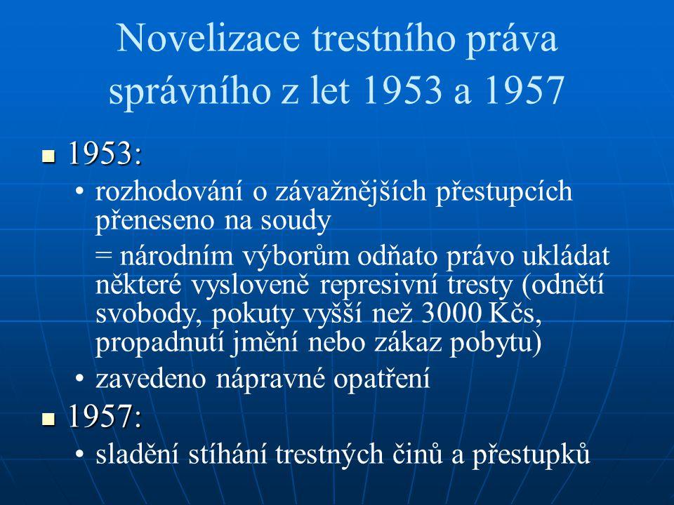 Novelizace trestního práva správního z let 1953 a 1957
