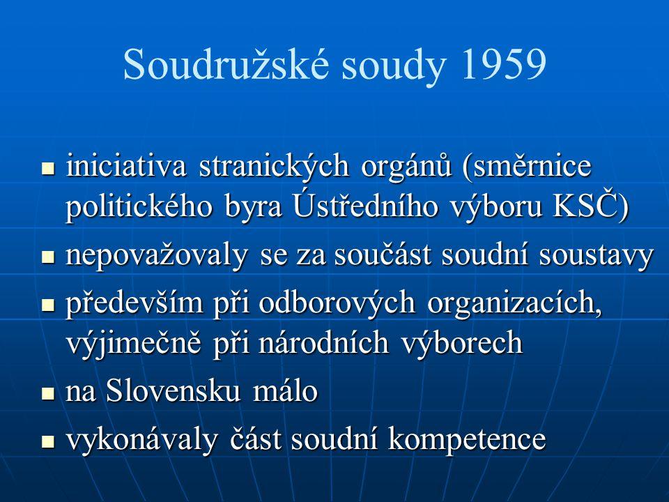 Soudružské soudy 1959 iniciativa stranických orgánů (směrnice politického byra Ústředního výboru KSČ)