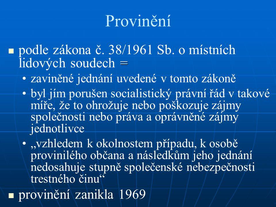 Provinění podle zákona č. 38/1961 Sb. o místních lidových soudech =