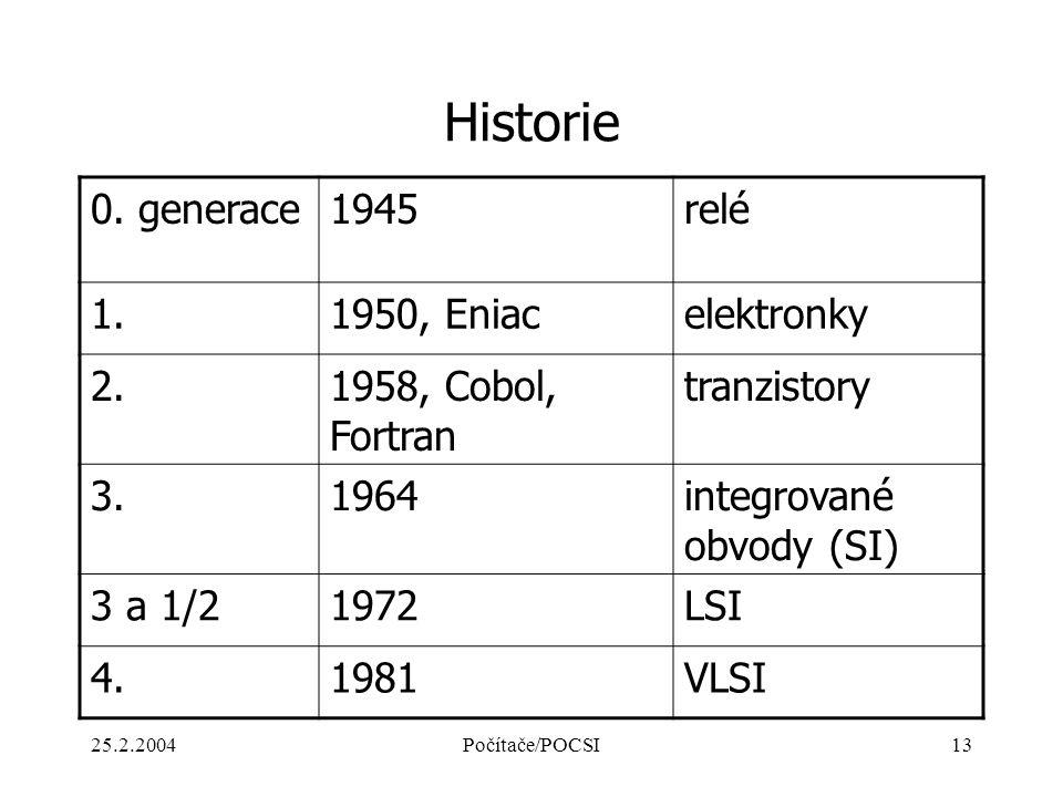 Historie 0. generace 1945 relé 1. 1950, Eniac elektronky 2.