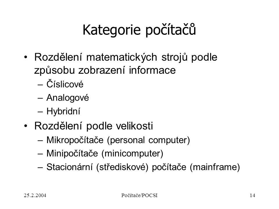 Kategorie počítačů Rozdělení matematických strojů podle způsobu zobrazení informace. Číslicové. Analogové.