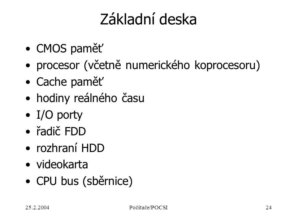 Základní deska CMOS paměť procesor (včetně numerického koprocesoru)