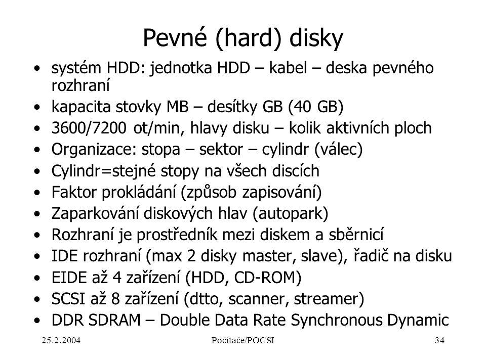 Pevné (hard) disky systém HDD: jednotka HDD – kabel – deska pevného rozhraní. kapacita stovky MB – desítky GB (40 GB)
