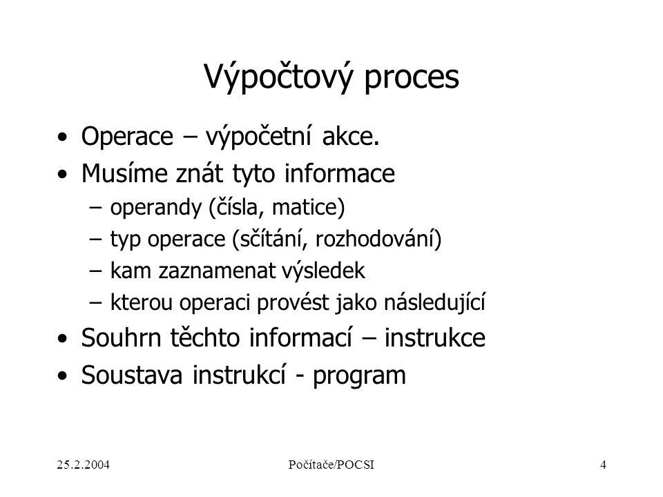 Výpočtový proces Operace – výpočetní akce. Musíme znát tyto informace
