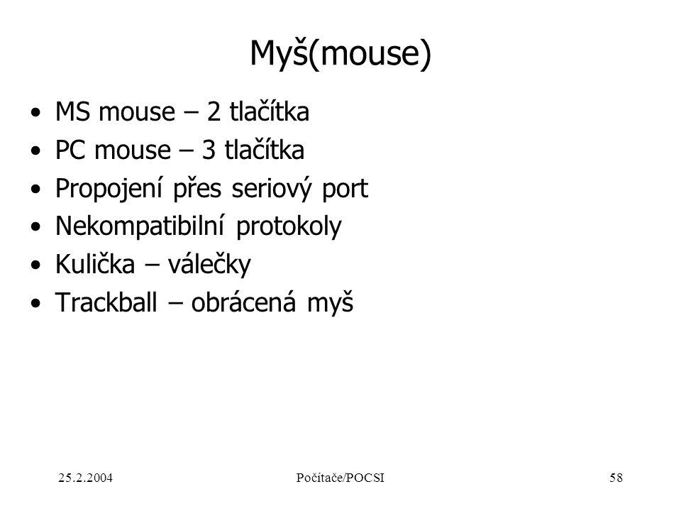 Myš(mouse) MS mouse – 2 tlačítka PC mouse – 3 tlačítka