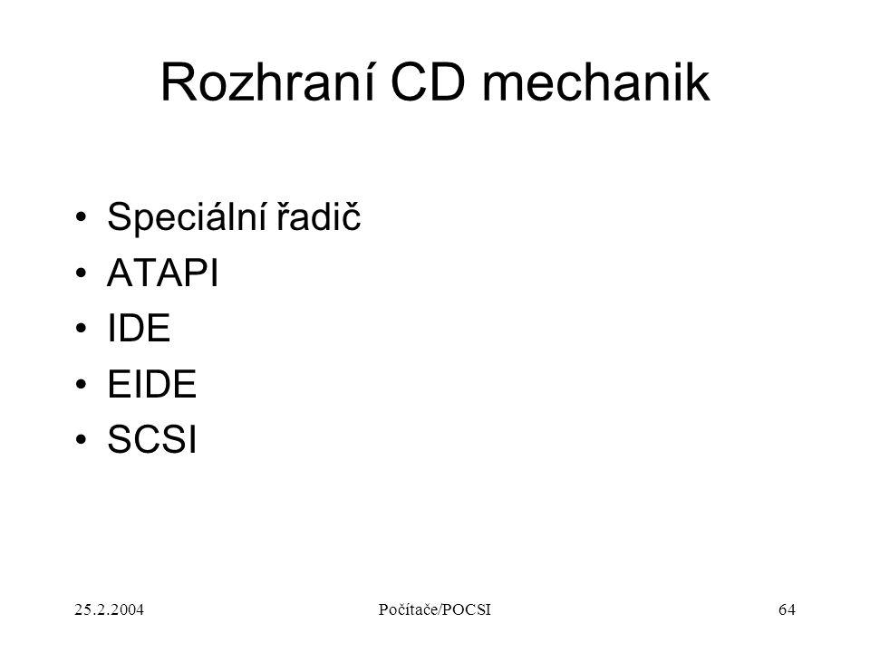 Rozhraní CD mechanik Speciální řadič ATAPI IDE EIDE SCSI 25.2.2004