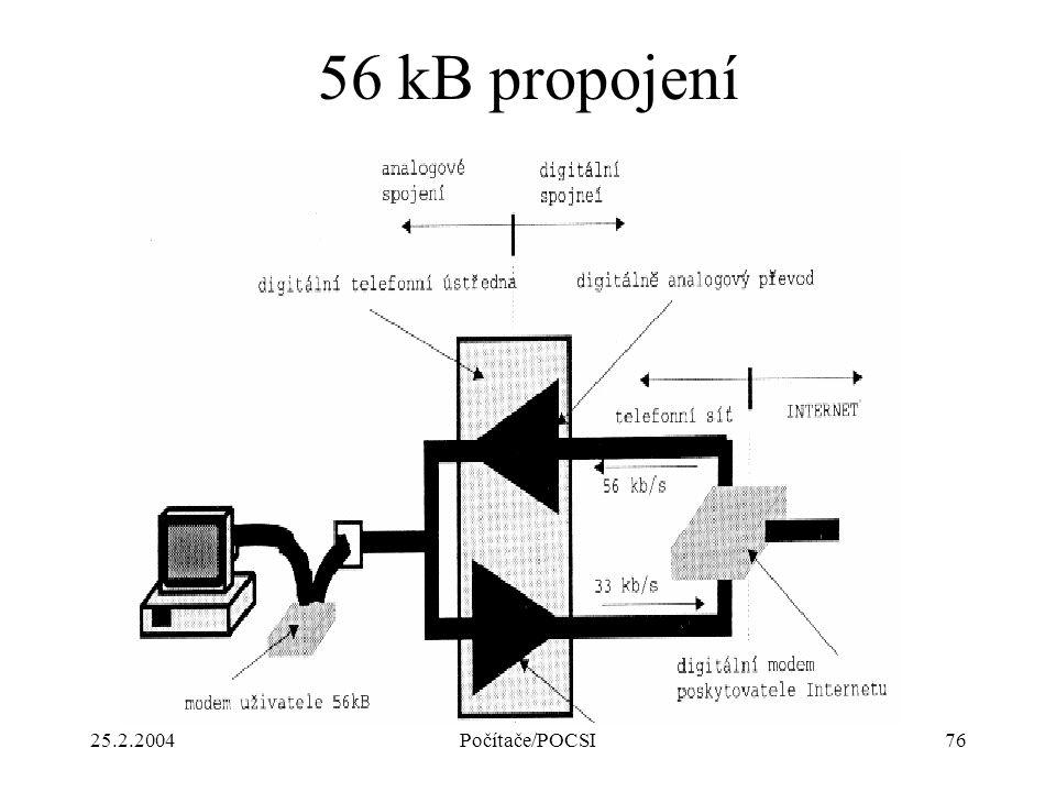 56 kB propojení 25.2.2004 Počítače/POCSI