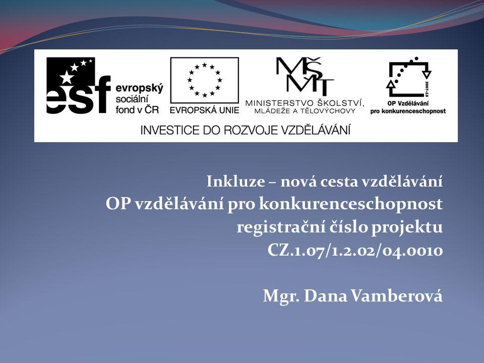 OP vzdělávání pro konkurenceschopnost registrační číslo projektu