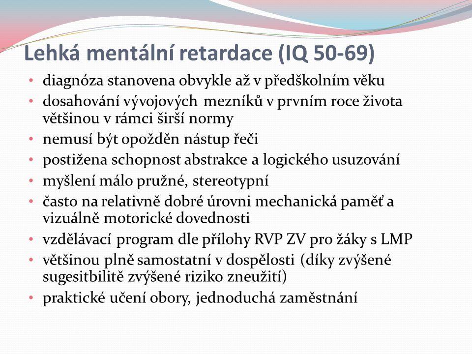 Lehká mentální retardace (IQ 50-69)