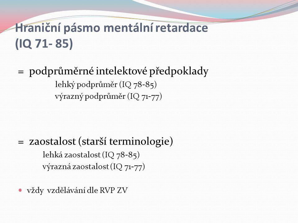 Hraniční pásmo mentální retardace (IQ 71- 85)