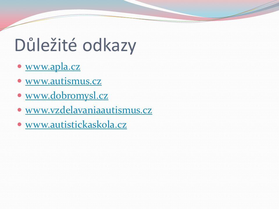 Důležité odkazy www.apla.cz www.autismus.cz www.dobromysl.cz
