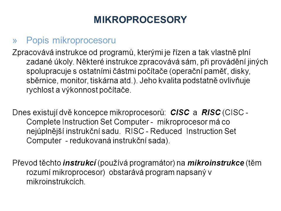 Mikroprocesory Popis mikroprocesoru