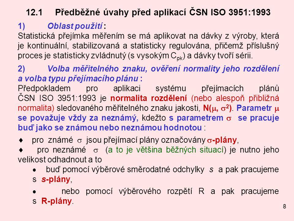 12.1 Předběžné úvahy před aplikací ČSN ISO 3951:1993