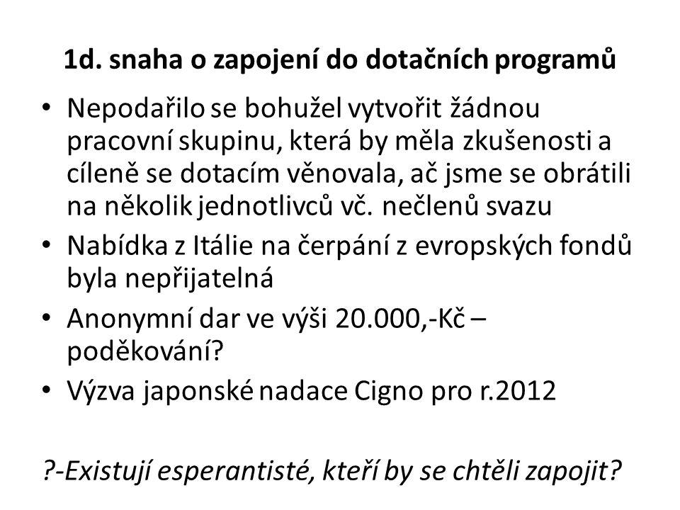 1d. snaha o zapojení do dotačních programů