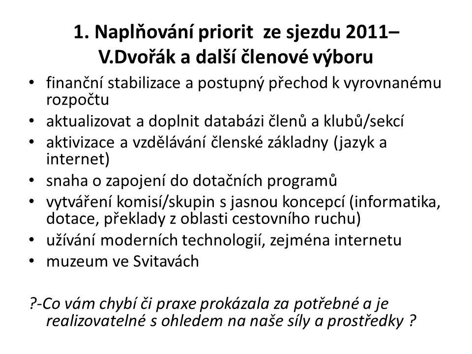 1. Naplňování priorit ze sjezdu 2011– V.Dvořák a další členové výboru