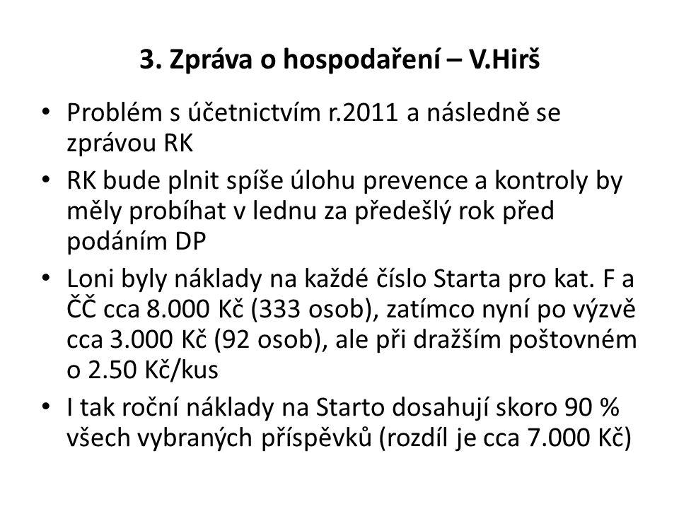 3. Zpráva o hospodaření – V.Hirš