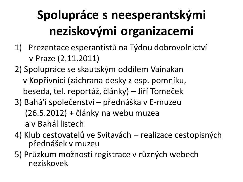 Spolupráce s neesperantskými neziskovými organizacemi