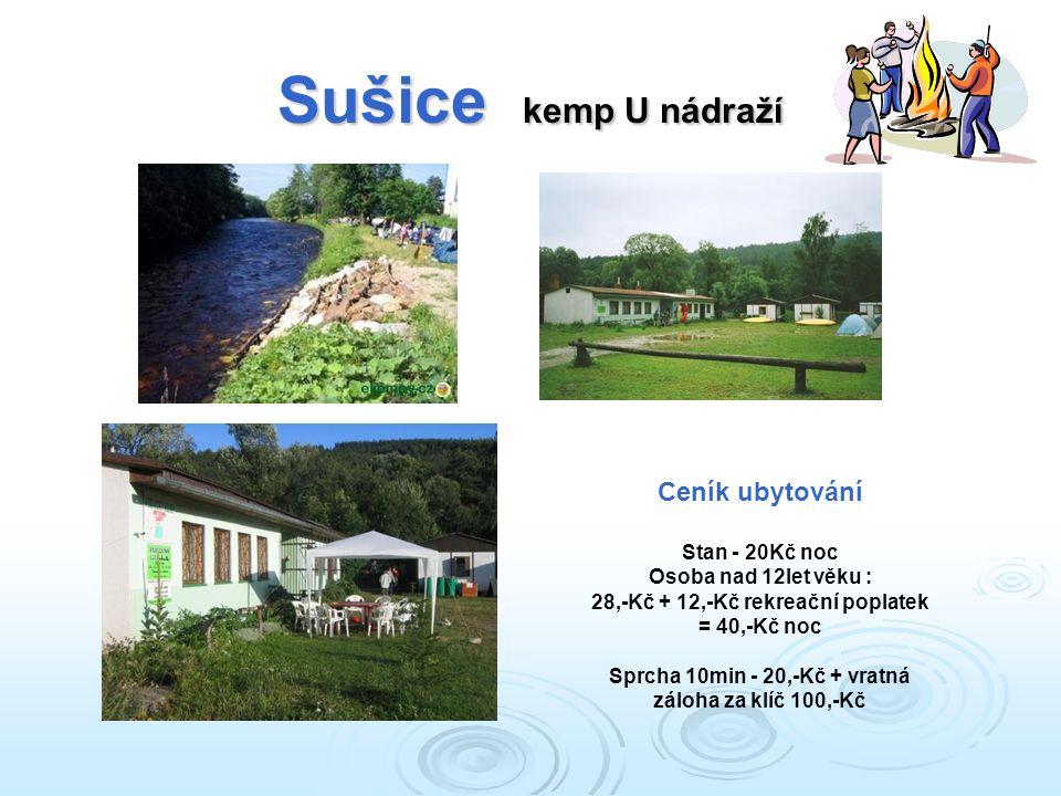 Sušice kemp U nádraží Ceník ubytování Stan - 20Kč noc