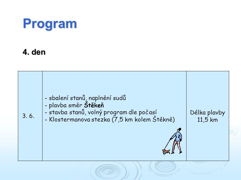 Program 4. den 3. 6. sbalení stanů, naplnění sudů plavba směr Štěkeň