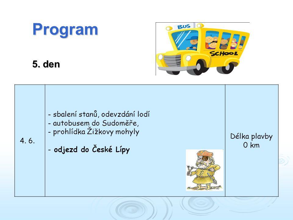 Program 5. den sbalení stanů, odevzdání lodí autobusem do Sudoměře,