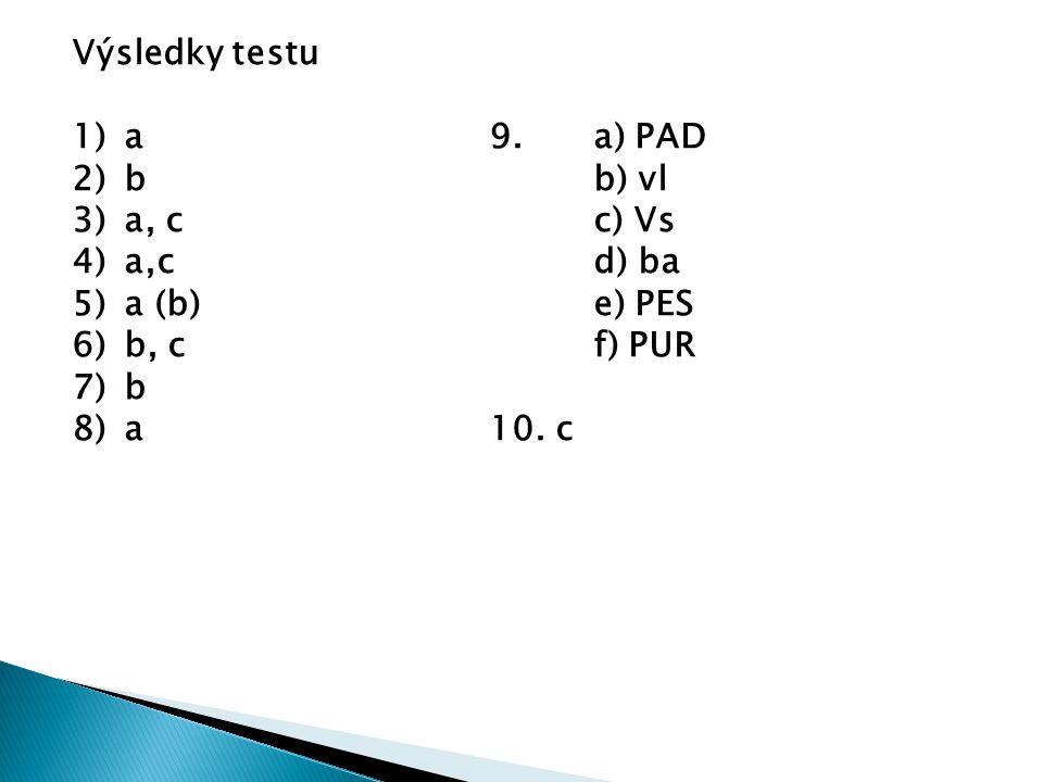 Výsledky testu a 9. a) PAD. b b) vl. a, c c) Vs. a,c d) ba. a (b) e) PES. b, c f) PUR.