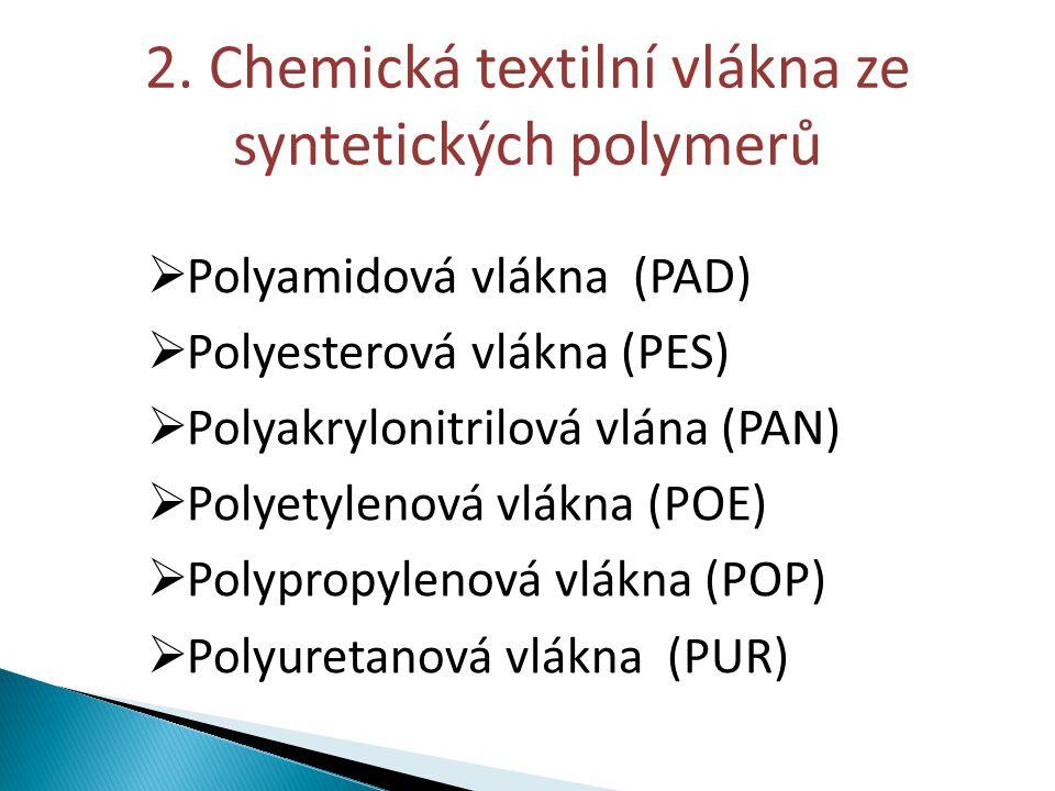 2. Chemická textilní vlákna ze syntetických polymerů