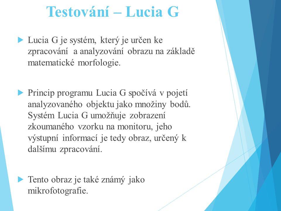 Testování – Lucia G Lucia G je systém, který je určen ke zpracování a analyzování obrazu na základě matematické morfologie.