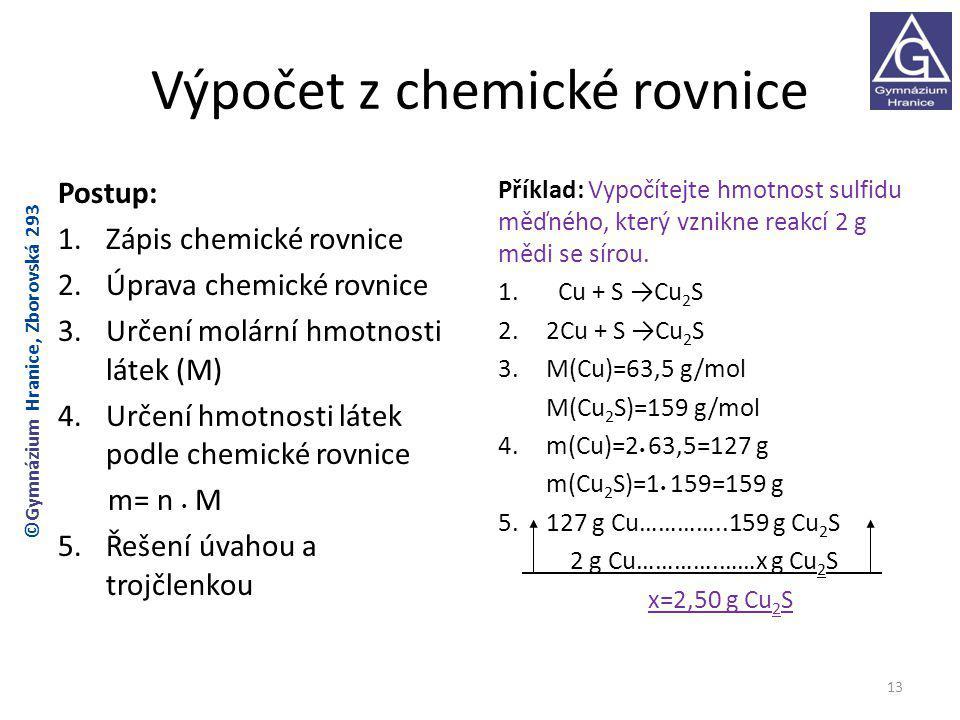 Výpočet z chemické rovnice