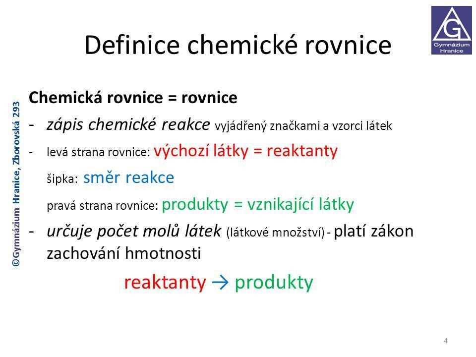 Definice chemické rovnice
