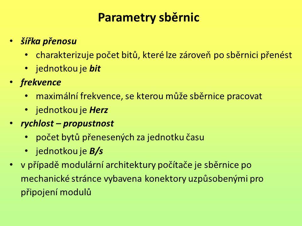 Parametry sběrnic šířka přenosu