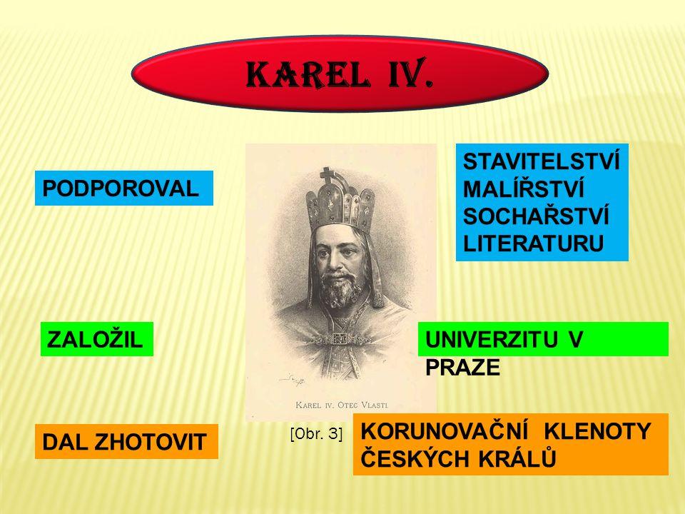 KAREL IV. STAVITELSTVÍ MALÍŘSTVÍ SOCHAŘSTVÍ LITERATURU PODPOROVAL